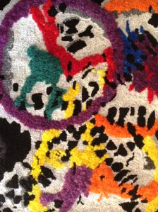closeup of hooked rug by Celia Charlton