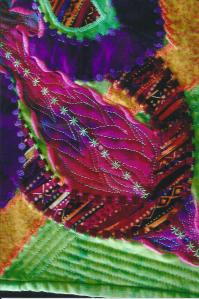 closeup of Lime Jewel (Art Quilt) by Fiona Oxford